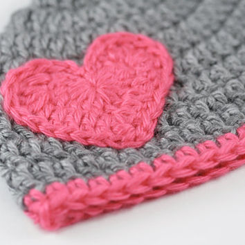 Valentine's Day Baby Hat // Gray and Hot Pink // Crochet Newborn Hat with Heart