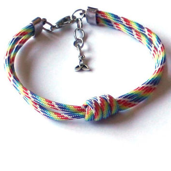 Unisex Rainbow Bracelet -  For him, for her, rainbow, gift ideas, paracord, boy, teenagers, friend, parachute, pride