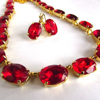 Ruby Anna Wintour Necklace, Georgian Collet Necklace, Red Paste. Red Statement, Regency, 18th Century, Red Crystal Choker, READY TO SHIP