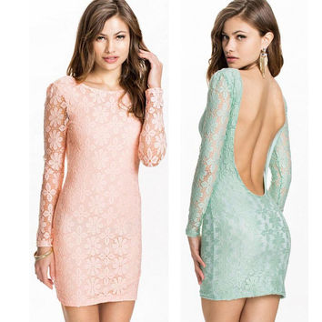 Feitong Women Sexy Slim Backless Dress Long Sleeve Slim Lace Bodycon Evening Party Pencil Elegant Mini Dress vestidos femininos