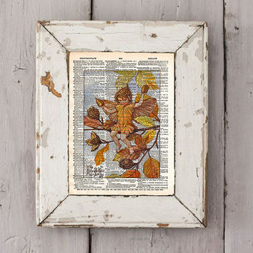 Vintage Flower Fairy art - Beech Nut Fairy - Autumn art print,  Dictionary print art
