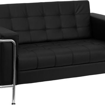 Lesley Contemporary Black Leather Love Seat with Encasing Frame