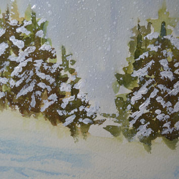 Art, Fine Art Watercolor Painting of Snow Covered Pine Trees