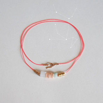 Coral Necklace with Pink and Seafoam Beads, The Capella