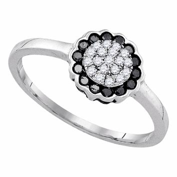 Sterling Silver Womens Round Black Color Enhanced Diamond Flower Cluster Ring 1/4 Cttw