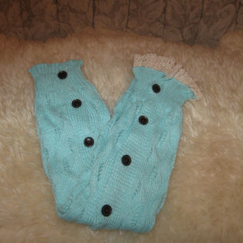 Lacy Knit Full Button Leg Warmer, Aqua Boot Topper, Boot Cuff, Lace Leg Warmers Button Down Leg Warmers