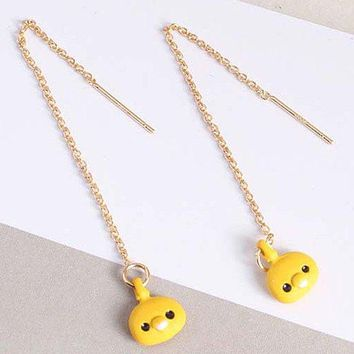 Kawaii Chick Thread Chain Drop Earrings