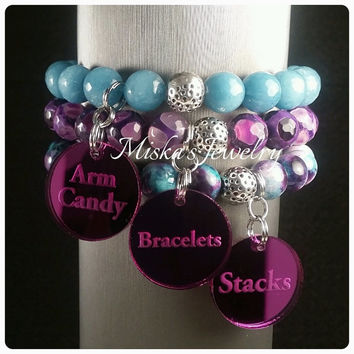 10mm Jade and Agate Three Stack Bracelet Set with Armcandy, Bracelet, Stacks Charms