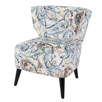Cristen Accent Chair Black Legs, Mazarine Paisley