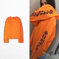 2016 Summer Ulzzang Vintage Harajuku Gothic letters OVERSIZE with long sleeve T-shirt for men and women Freeshipping
