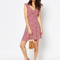 ASOS | ASOS Ruffle Skater Dress in Animal Print at ASOS