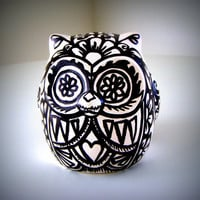 Ceramic Owl Black and White Day of the Dead Tattoo by sewZinski