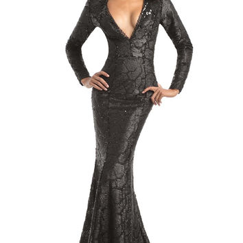 JOHNATHAN KAYNE 7025 IN STOCK SIZE 4 BLACK Long Sleeve Sequin Plunging V-Neck Prom Evening Dress