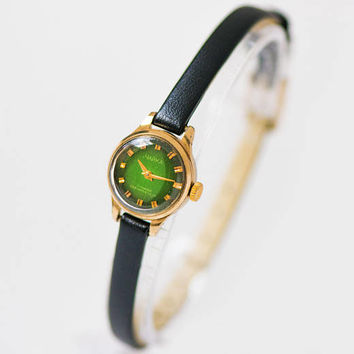 Green face woman watch very small gold plated, petite lady watch Seagull, round wristwatch limited edition, watch tiny, new premium strap