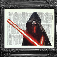 Kylo Ren Force Awakens Star Wars Movie Art-Boyfriend Gift-Star Wars POSTER Print-dictionary page art -Husband Gift-BIRTHDAY-Gift Boyfriend