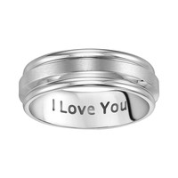 Cherish Always Stainless Steel ''I Love You'' Wedding Band - Men (Grey)