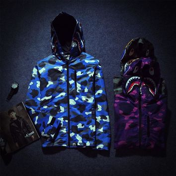 Casual Men's Fashion Jacket Noctilucent Camouflage Men Windbreaker [140554108940]