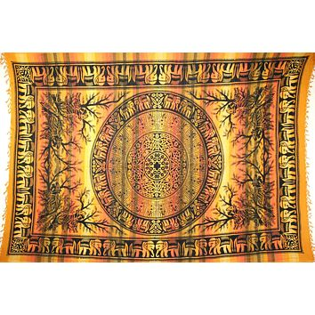 Handmade Cotton Mandala Elephant Overprint Striped Tapestry Coverlet Yellow Twin