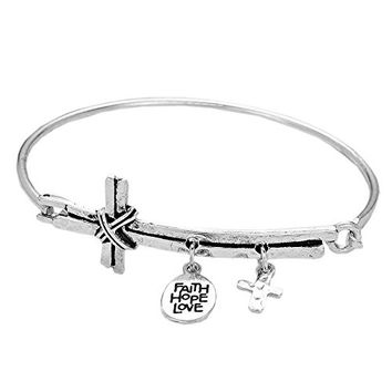 Sideways Cross with Faith Hope Love Charm Wire Bangle Bracelet (Silver Color)
