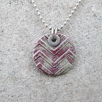 Chevron Necklace, Chevron Pendant, Stainless Steel Jewelry, Pottery Jewelry, Pottery Pendant Necklace, Distressed Jewelry, Washer Jewelry