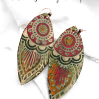 Handpainted leather and copper metal  earrings. Flower and leaves.
