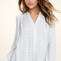 Centered Light Blue Button-Up Top