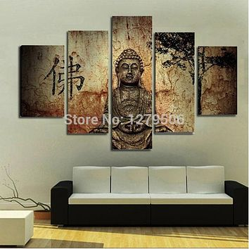 Canvas Wall Art Decor For Living Room As Unique Gift 5 Pieces/set Budha Picture