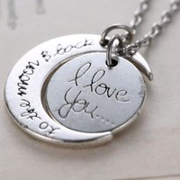 I LOVE YOU TO THE MOON AND BACK Moon Charm Pendant Necklace
