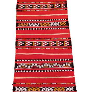Moroccan Flat Weave Kilim Rug - Hand Woven Zemmour in Red Wool - 41 x 17 inches