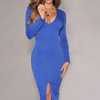 Blue Long Sleeves Midi Dress with Front Slit
