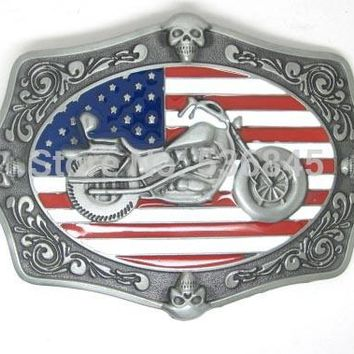 AMERICA AMERICAN BIKERS UNITED STATES FLAG BELT BUCKLES