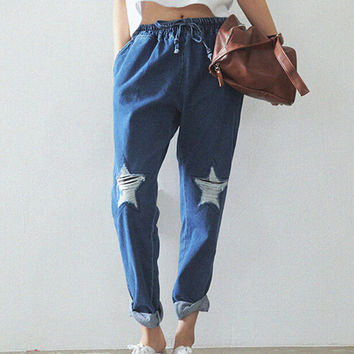 EAST KNITTING CC102 Hot Fashion 2014 Women Jeans Stars Hole Pants Loose Lace-up Jeans Harajuku Plus Size Free Shipping