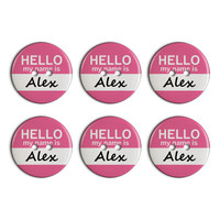 Alex Hello My Name Is Plastic Resin Button Set of 6