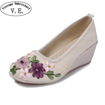 Embroidery Pump Shoes Woman Handmade Linen Cotton Wedge Shoes Vintage Solid Color Ladies High Heel Slip On Platform Pumps