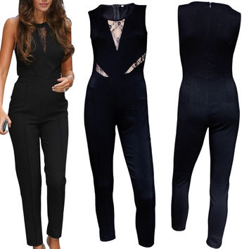 Rompers Womens Jumpsuit Black Stretch Lace Insert Fashion Jumpsuit Women Bodycon Jumpsuits = 1945696964