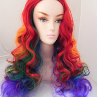 20% OFF SALE Rainbow No Bangs / Medium Curly Layered Cosplay My Little Pony Wig