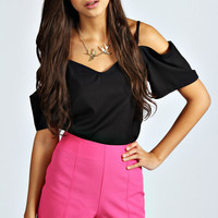 Hetty High Waisted Double Stitch Woven Short