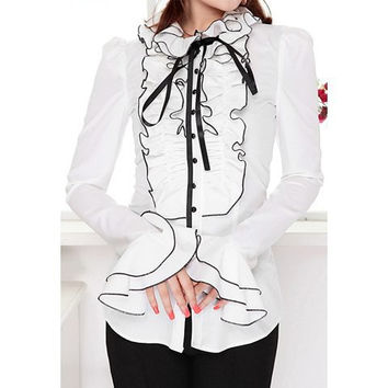 White Ruffle Detail Long Sleeve Bow-Tie Blouse