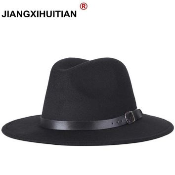 free new Fashion men fedoras women's fashion jazz hat summer spring black woolen blend cap outdoor casual hat