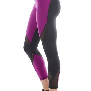 Michi Suprastelle  Magenta Leggings | Purple and Black Designer Leggings