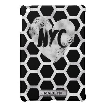Metallic Silver and Black, NYC iPad Mini Cases