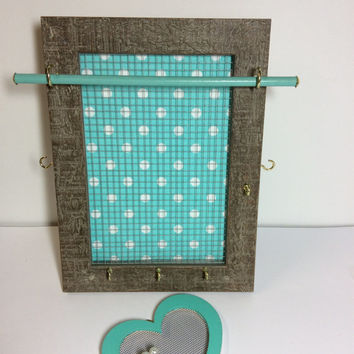Jewelry Storage, stud earring holder, Jewellery display stand, organizer frame, Blue & white polka dot frame, girl gift, earring display