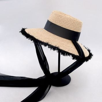 Muchique Bucket Hats with Ribbon Tie Women Summer Sun Hats Raffia Straw Beach Hats with Fray Edges Hot Fashion