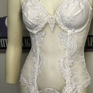 36B Vintage CAROL MALONY White Lace Garter Slip / Boned Corset with Underwire / Sheer White Floral Lace Teddy / Sexy Bridal Wedding Lingerie