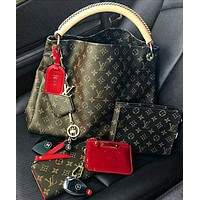 LV Louis Vuitton New fashion Monogram Print leather shoulder bag handbag wallet purse clutch bag women