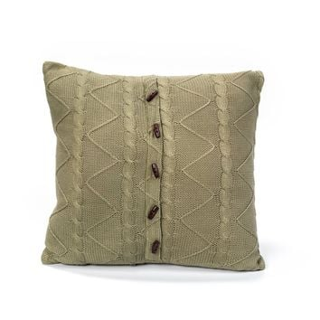 SAGE CABLE AND TWIST KNIT PILLOW