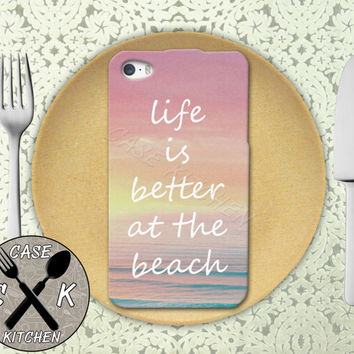 Life Is Better At The Beach Quote Sunset Tumblr Rubber Tough Case For iPhone 4 and 4s and iPhone 5 and 5s and 5c and iPhone 6 and 6 Plus +