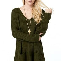 Night In Olive Green Sweater