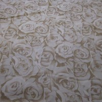 Poly cotton quilting fabric Cream Tan Roses All Over Flower Near 1 Yd | TidbitsTrinkets - Craft Supplies on ArtFire