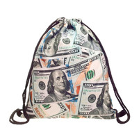 Drawstring Backpack in dollers money pattern in gray color for Cinch Backpack